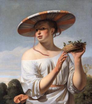 Meisje met een brede hoed, gemaakt door Caesar Boëtius van Everdingen